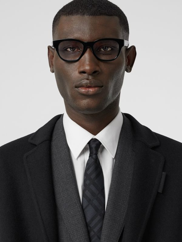 Classic Cut Check Silk Jacquard Tie in Charcoal - Men | Burberry - cell image 2