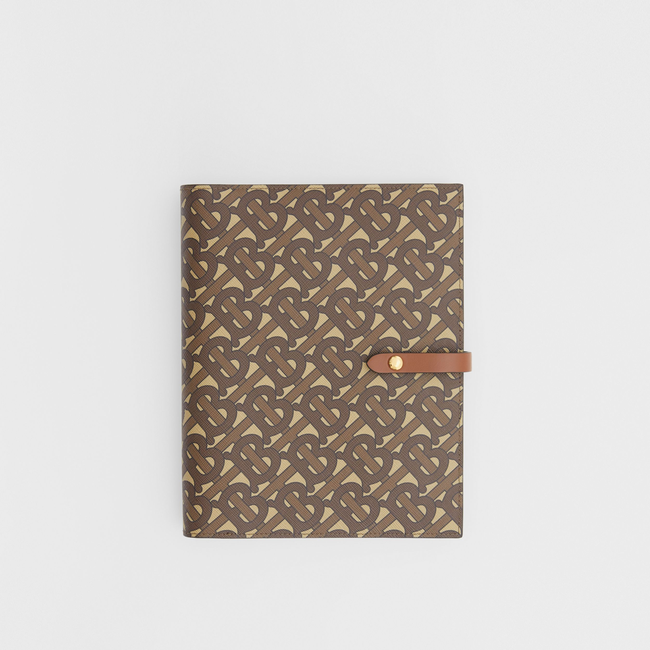 Monogram Print E-canvas Notebook Cover in Bridle Brown | Burberry Australia - 1