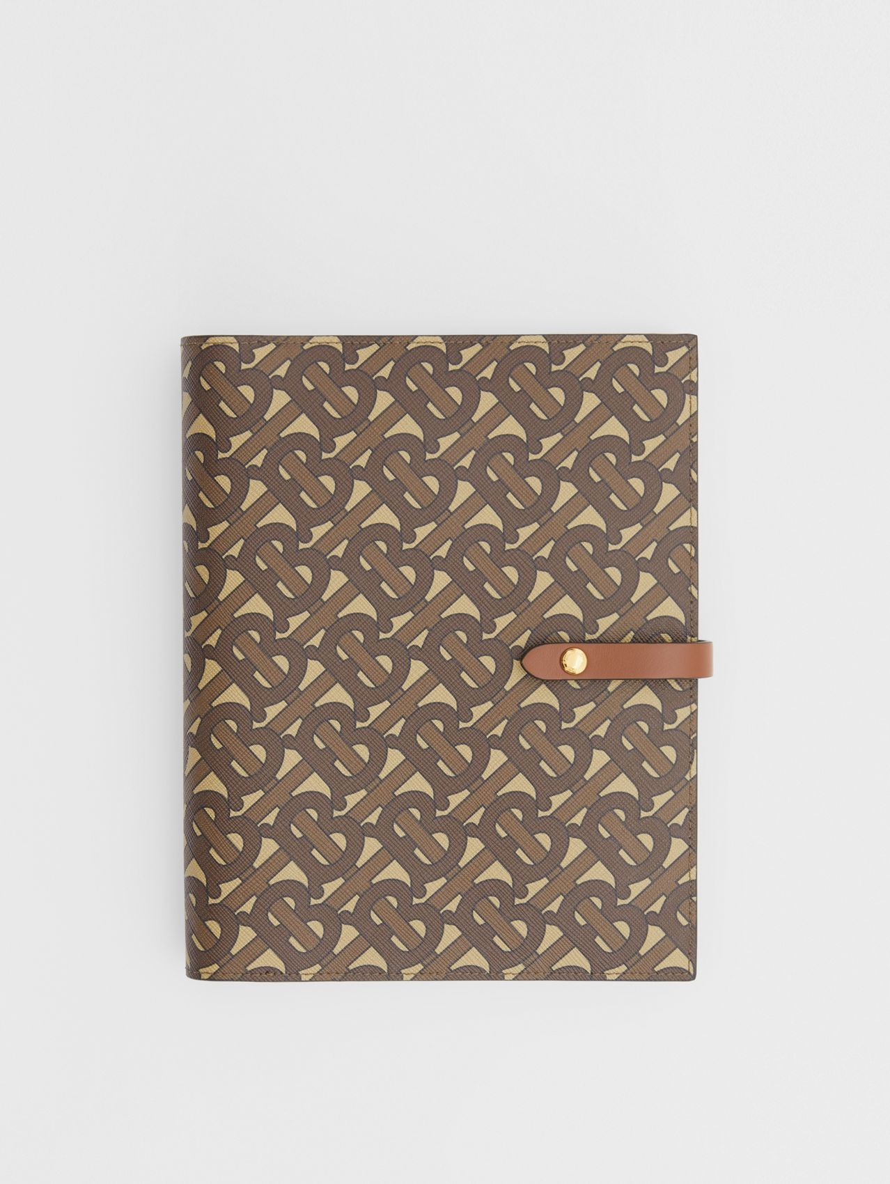 Monogram Print E-canvas Notebook Cover in Bridle Brown