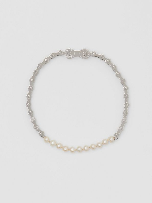 Pearl Detail Bicycle Chain Palladium-plated Necklace in Silver