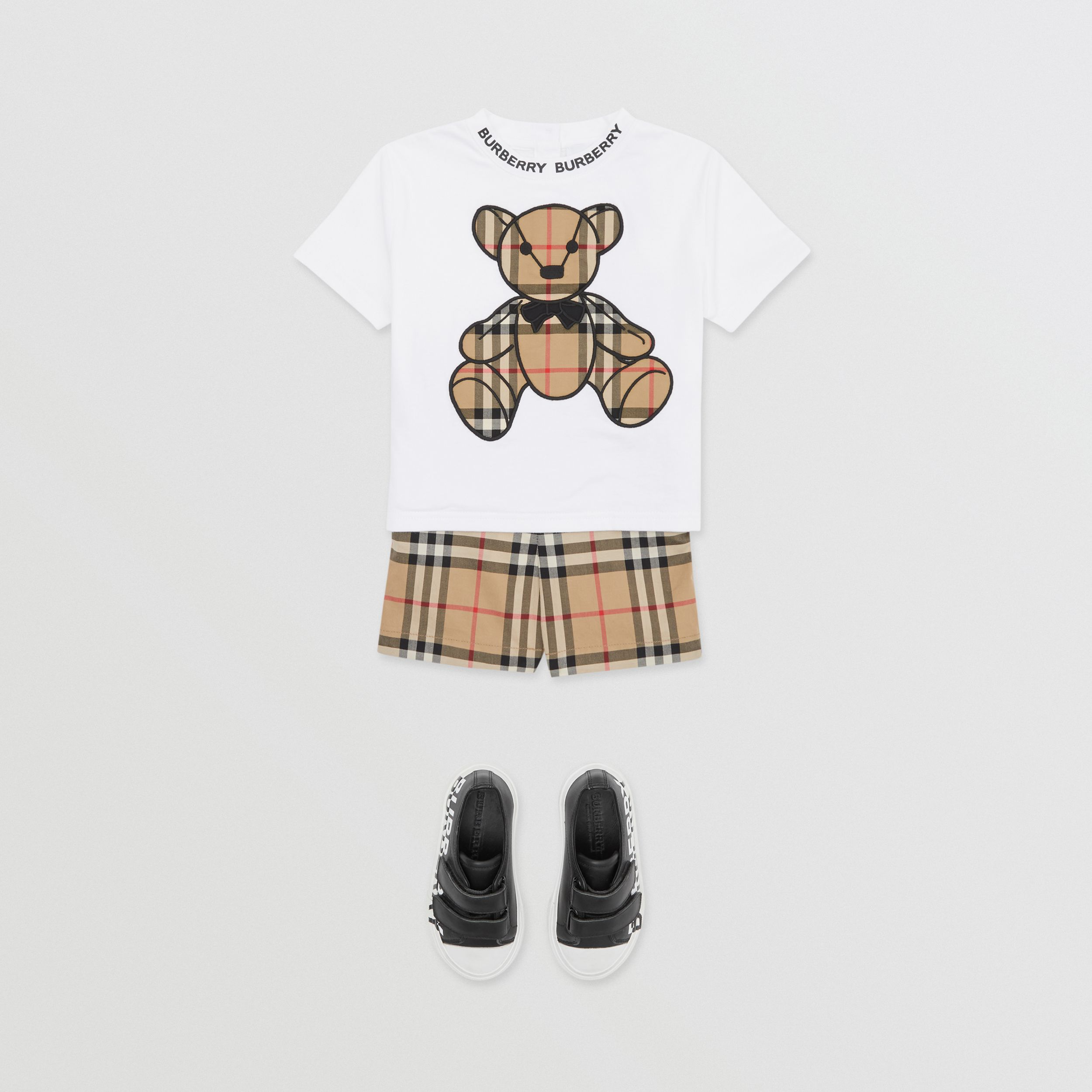 Thomas Bear Appliqué Cotton T-shirt in White - Children | Burberry Hong Kong S.A.R. - 4
