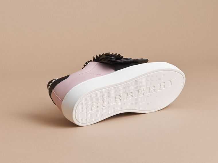 Beasts Motif Leather Slip-on Trainers in Ivory Pink - Women | Burberry - cell image 4