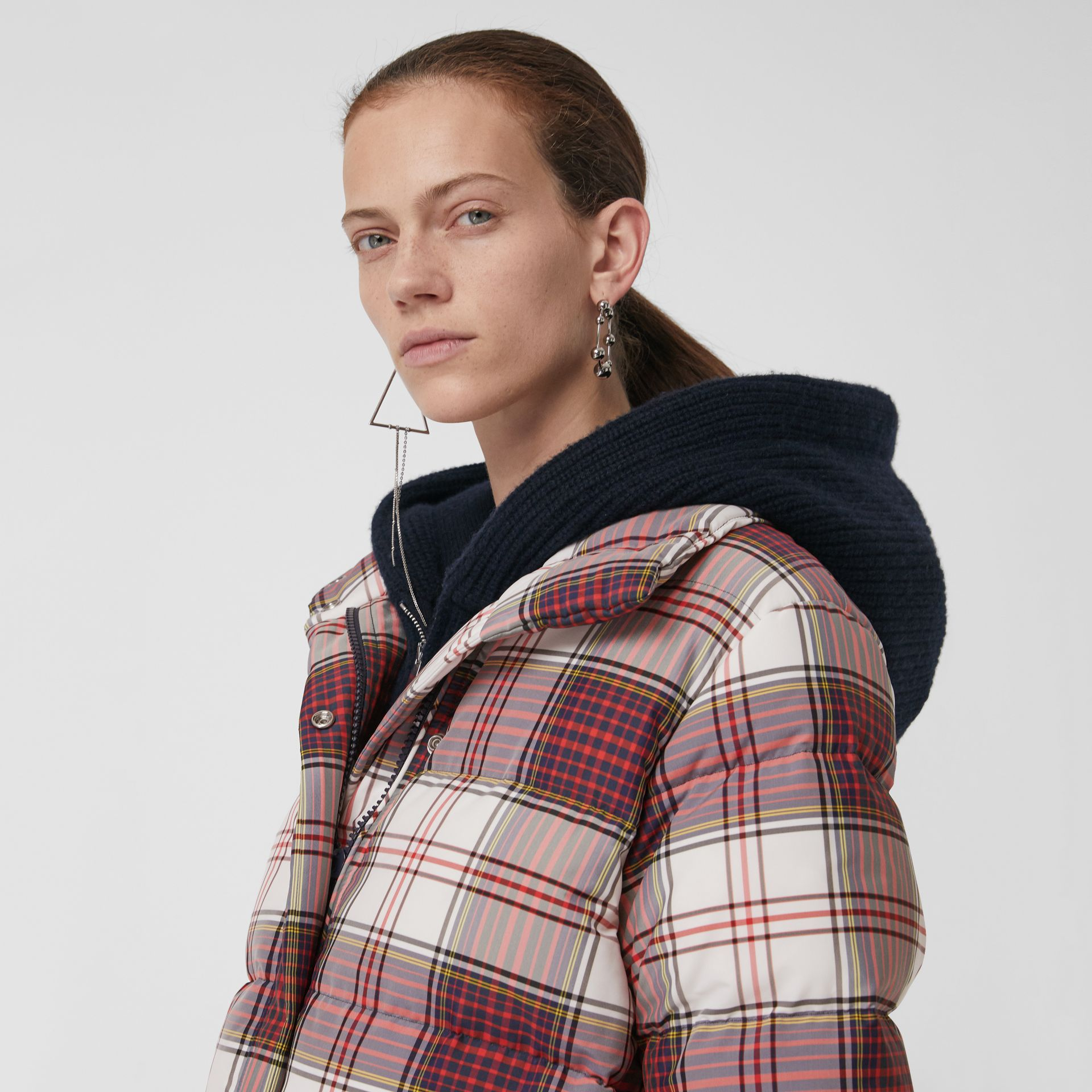 Check Down-filled Puffer Jacket in Off White - Women | Burberry Singapore - gallery image 1