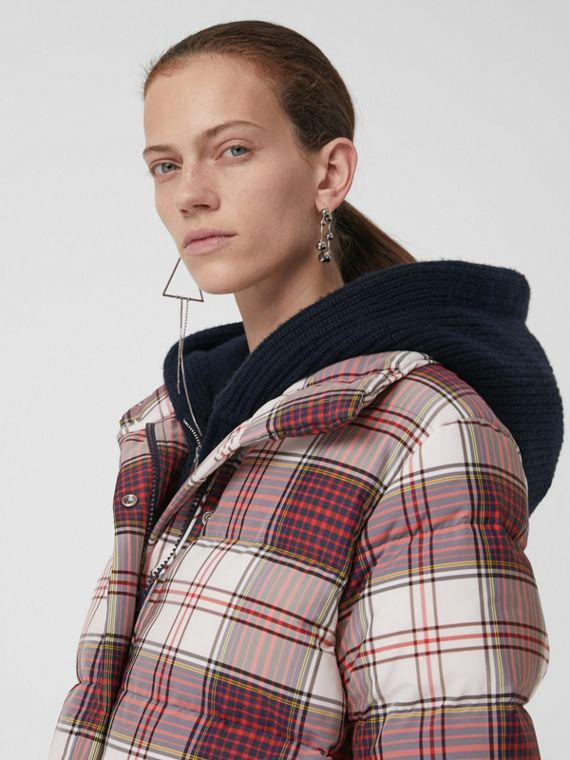 Check Down-filled Puffer Jacket in Off White