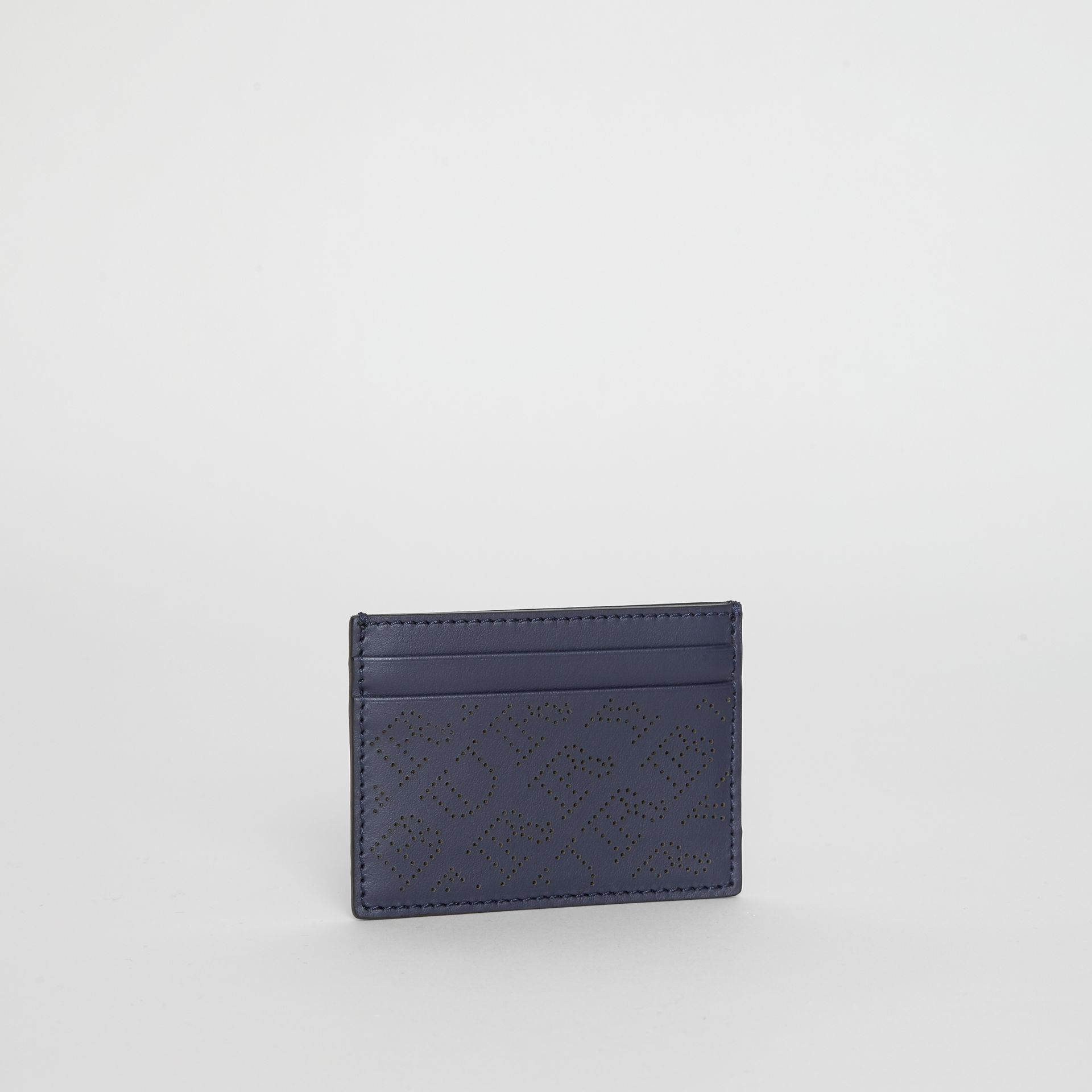 Perforated Logo Leather Card Case in Navy - Women | Burberry - gallery image 4