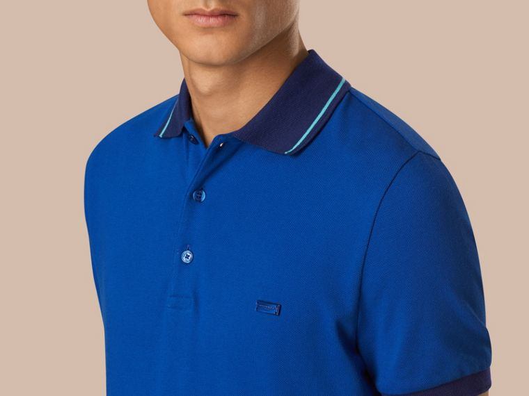Cobalt/pale prediot blue Contrast Trim Cotton Piqué Polo Shirt Cobalt/pale Prediot Blue - cell image 2