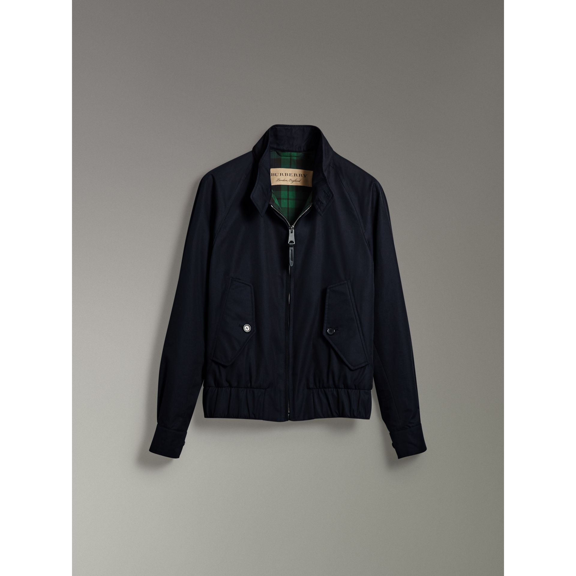 Cotton Gabardine Harrington Jacket in Navy - Men | Burberry - gallery image 3