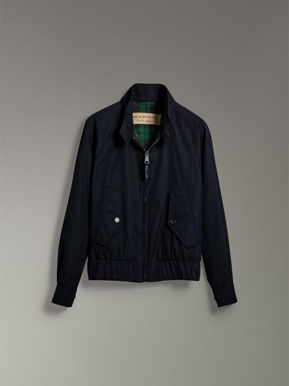 Cotton Gabardine Harrington Jacket in Navy - Men | Burberry - cell image 3