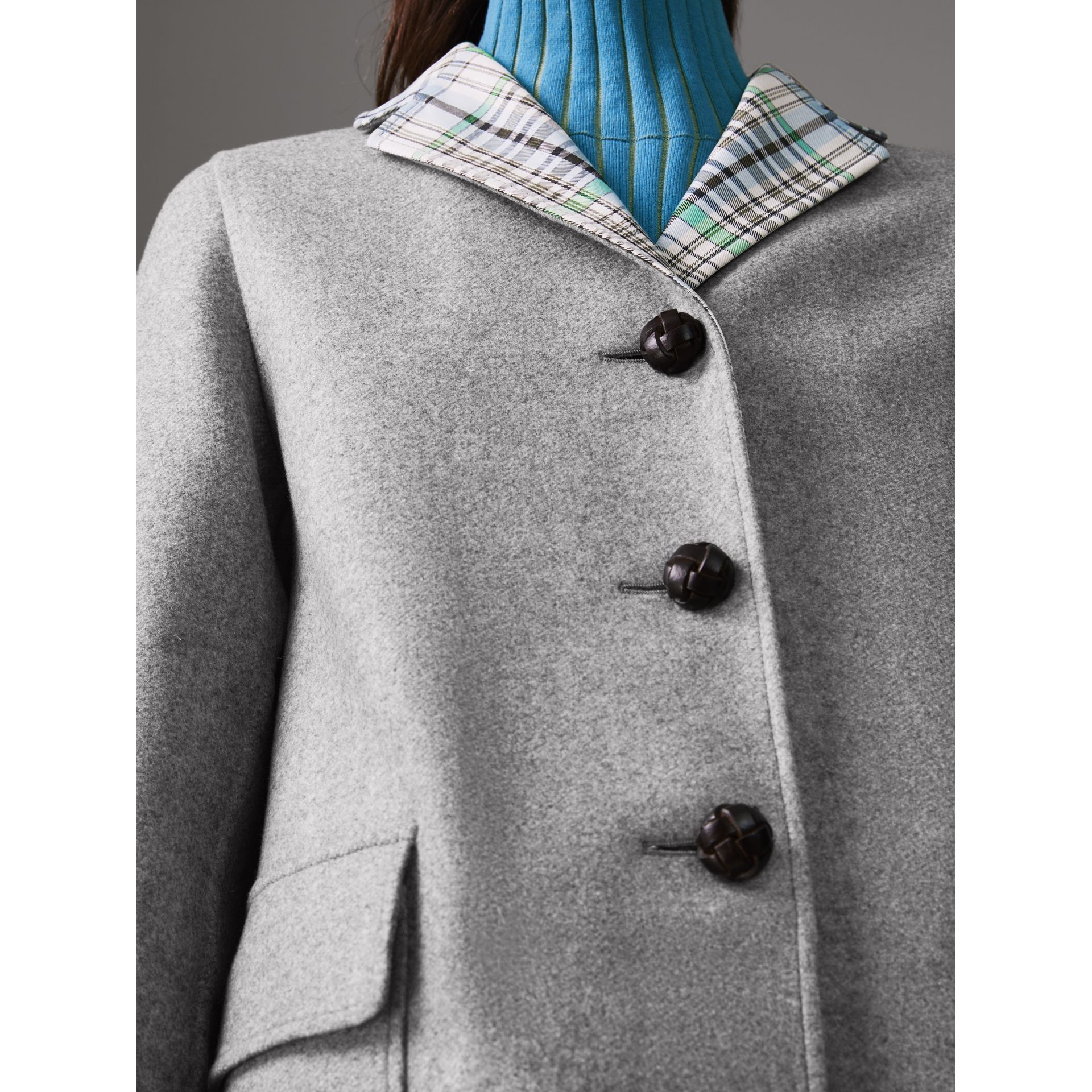Check Collar Cashmere Coat in Pale Grey Melange - Women | Burberry Australia - gallery image 1