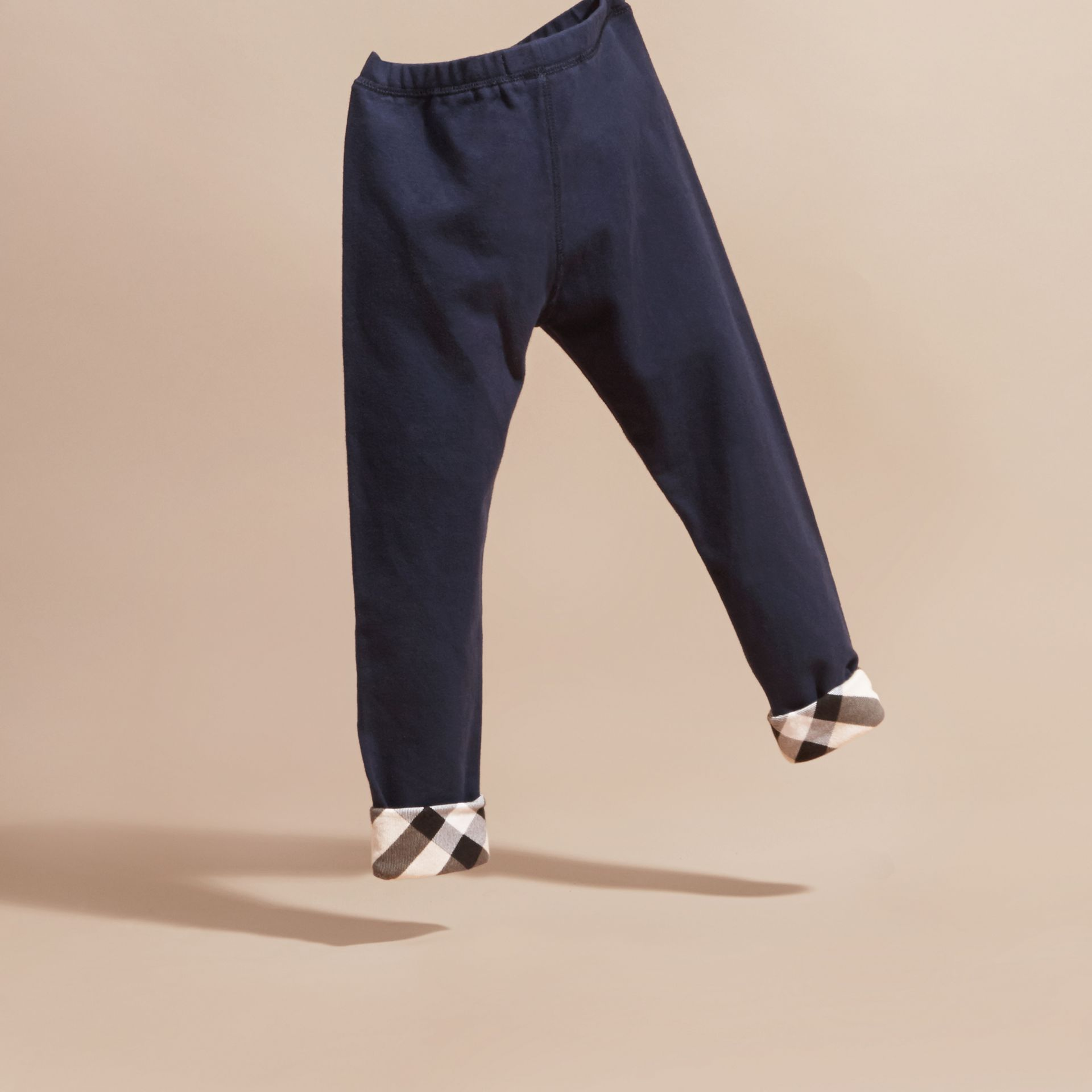 Navy Stretch Cotton Leggings Navy - gallery image 4