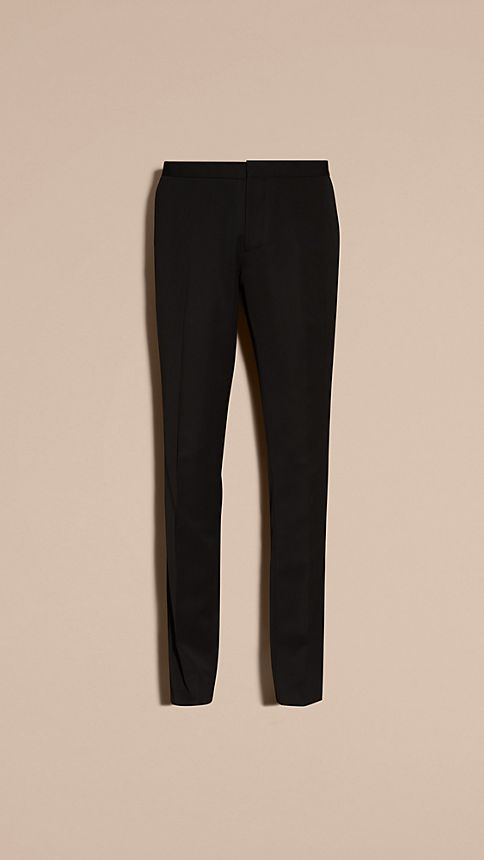 Black Virgin Wool Tuxedo Trousers Black - Image 5