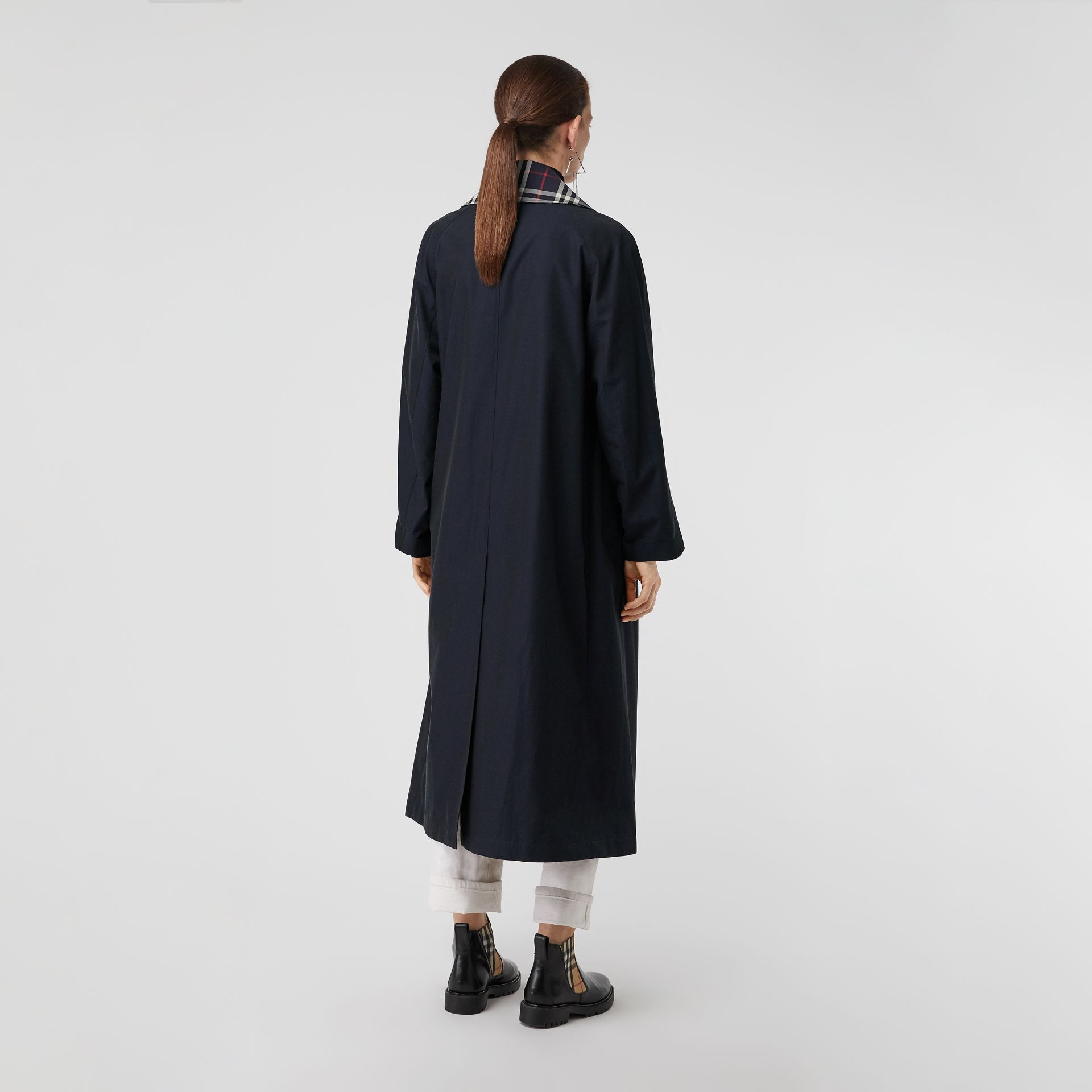 Double-Front Oversized Car Coat in Blue Carbon - Women | Burberry - gallery image 2