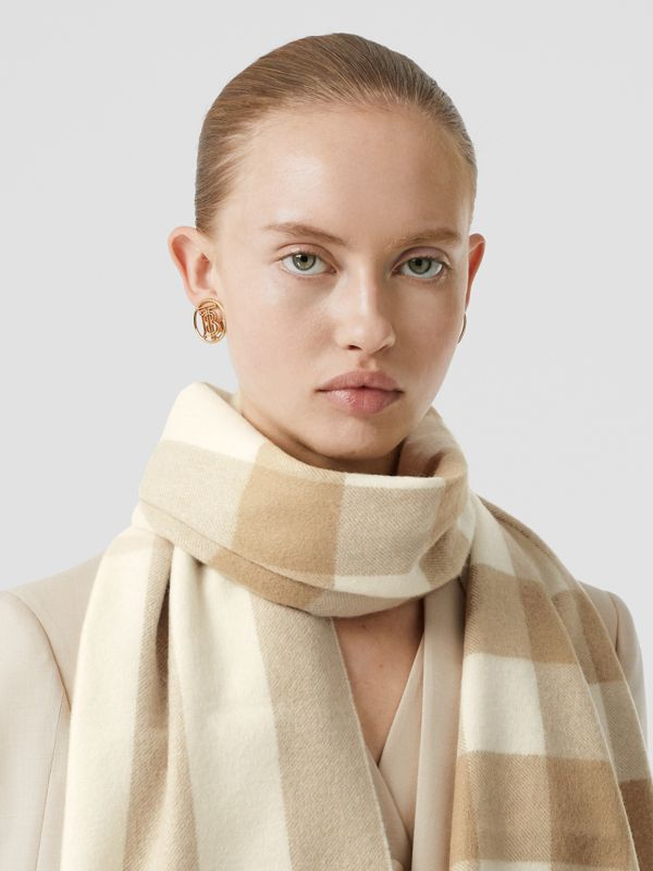 Check Cashmere Scarf in White | Burberry Canada - cell image 2