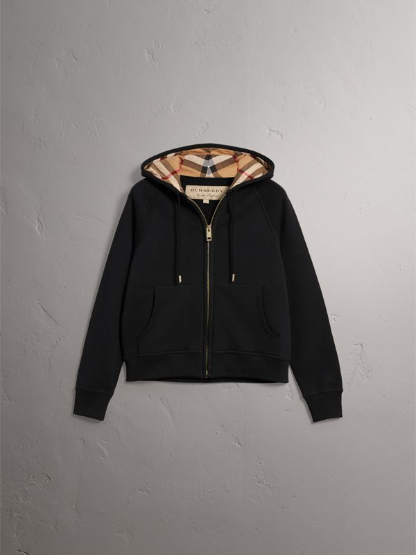 Hooded Zip-front Cotton Blend Sweatshirt in Black - Women | Burberry United States - cell image 3