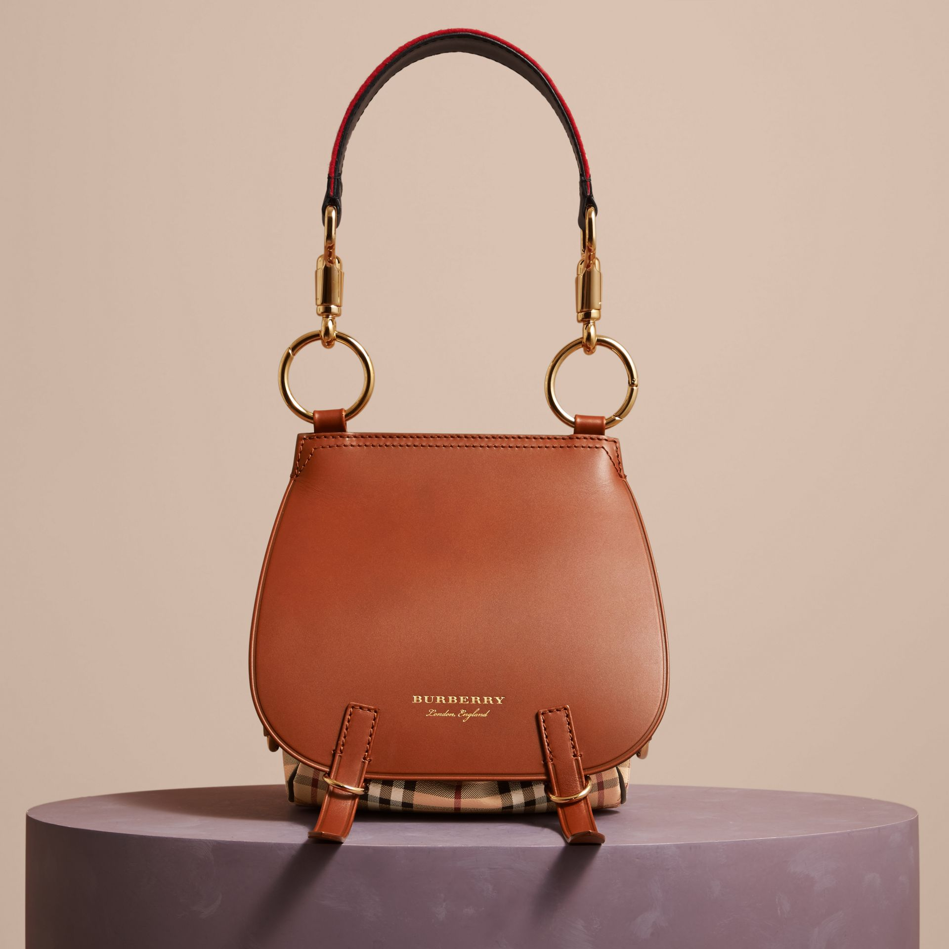 The Bridle Bag in Leather and Haymarket Check - Women | Burberry - gallery image 8