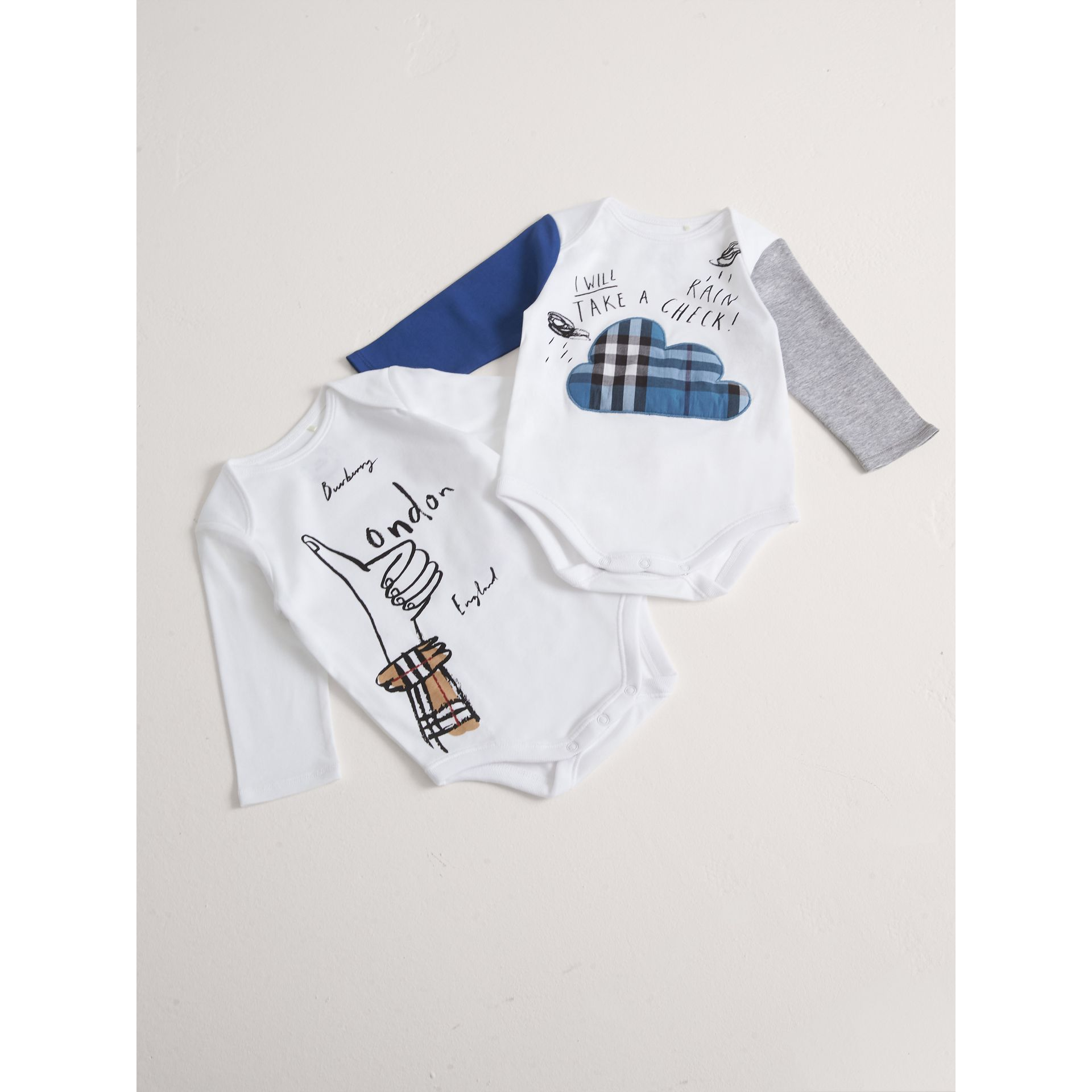 London Motif Cotton Two-piece Baby Gift Set in White | Burberry Canada - gallery image 0