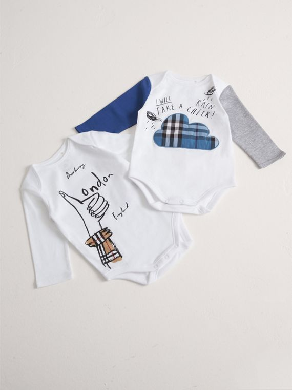 London Motif Cotton Two-piece Baby Gift Set in White