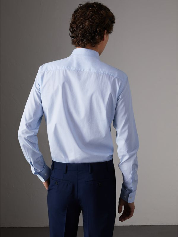 Slim Fit Striped Cotton Poplin Shirt in City Blue - Men | Burberry - cell image 2