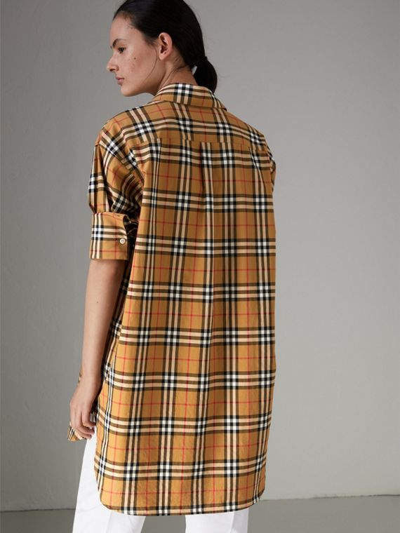 Vintage Check Cotton Shirt in Antique Yellow - Women | Burberry Australia - cell image 2