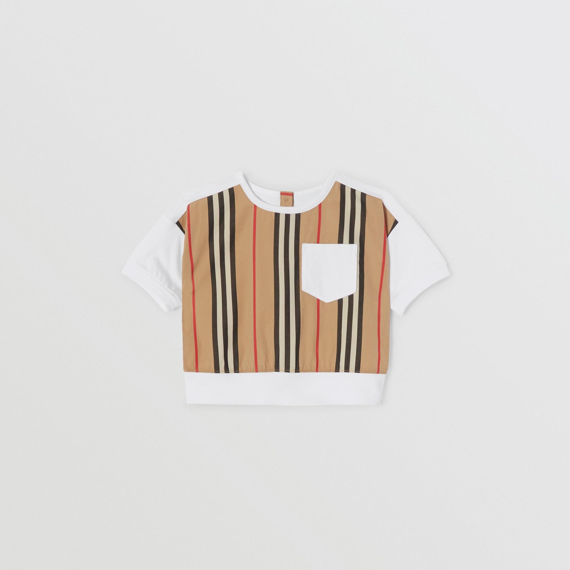 Icon Stripe Panel Cotton T-shirt in White - Children | Burberry United Kingdom - gallery image 0