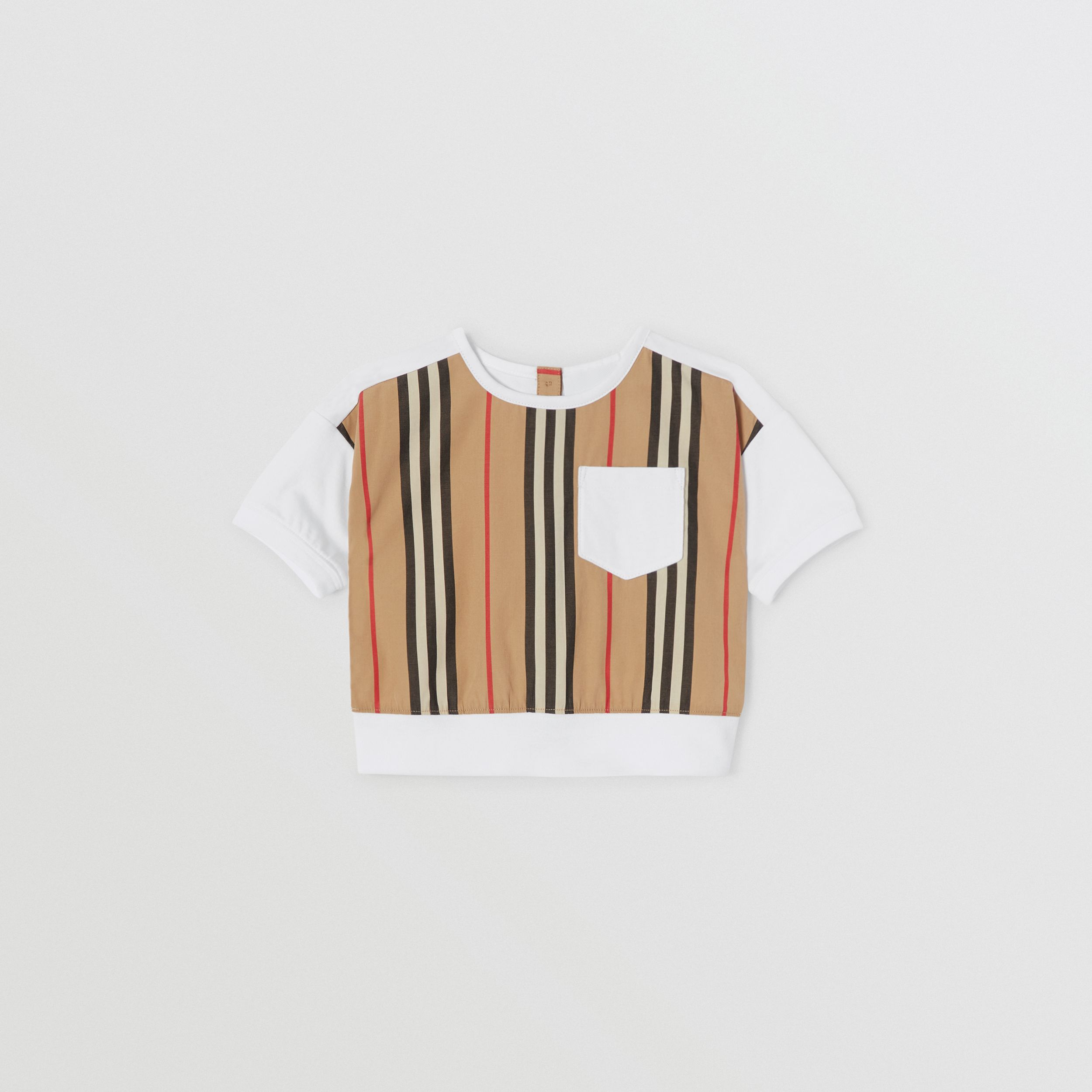 Camiseta en algodón con panel a rayas Icon Stripe (Blanco) - Niños | Burberry - 1