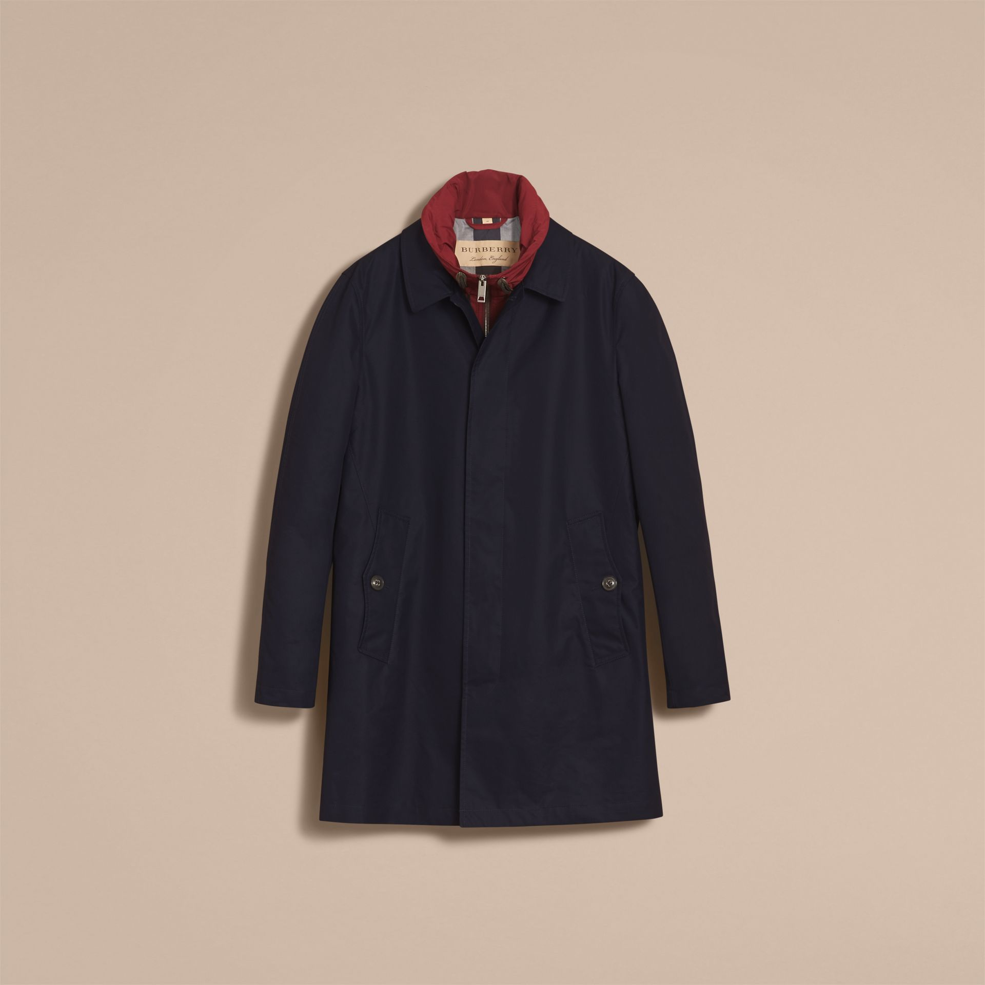 Lightweight Cotton Car Coat with Detachable Gilet Navy - gallery image 4