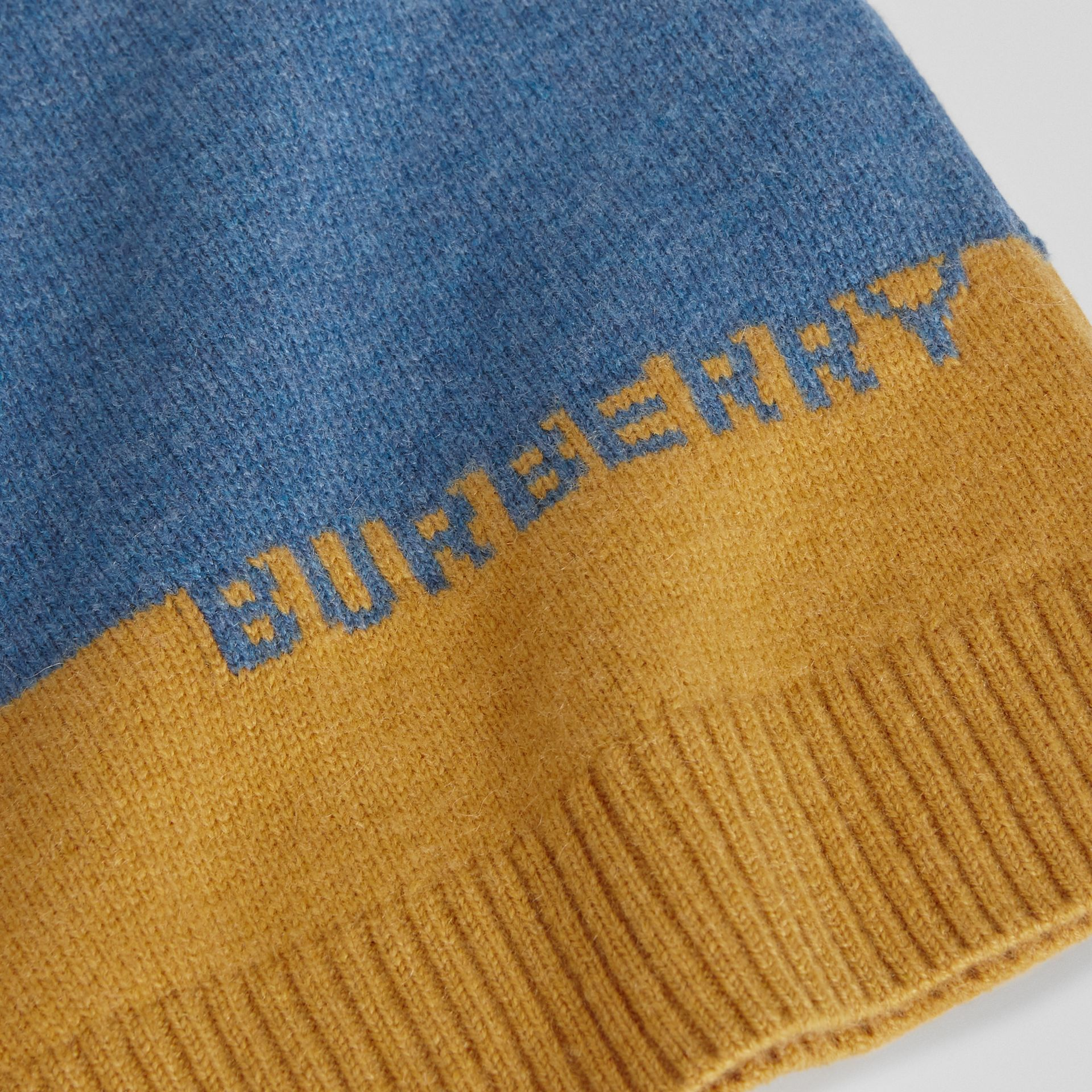 Logo Intarsia Cashmere Sweater in Dusty Blue Melange | Burberry Singapore - gallery image 5