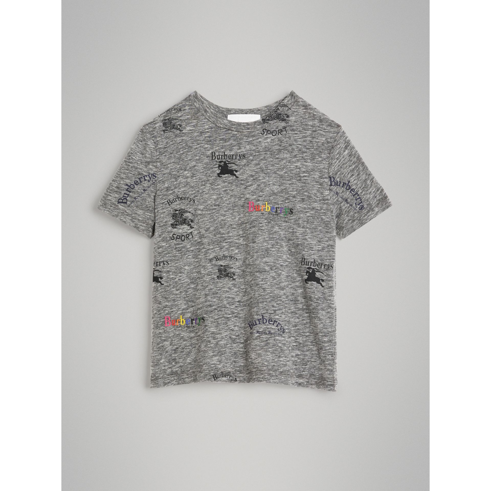 Archive Logo Print Jersey T-shirt in Grey Melange - Boy | Burberry - gallery image 0
