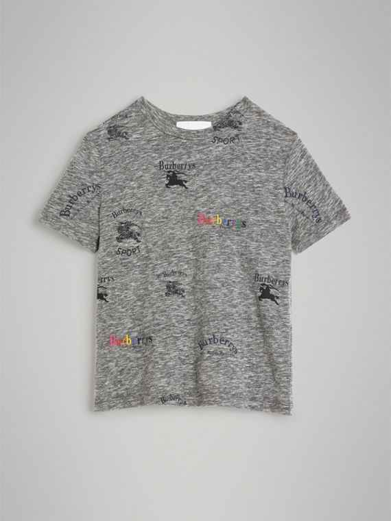Archive Logo Print Jersey T-shirt in Grey Melange