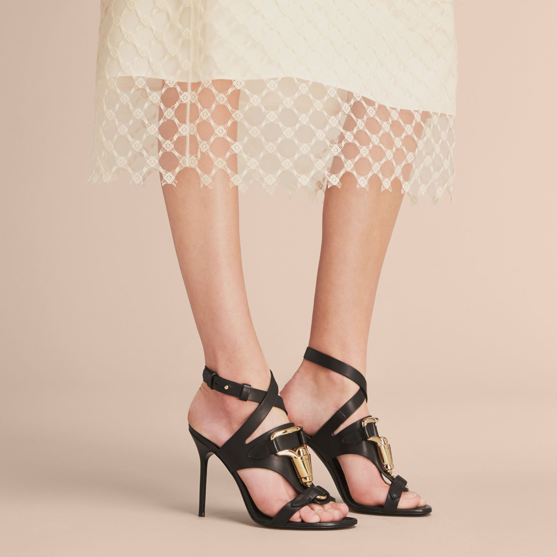 Equestrian Detail Leather High-heel Sandals in Black - Women | Burberry United Kingdom - gallery image 2