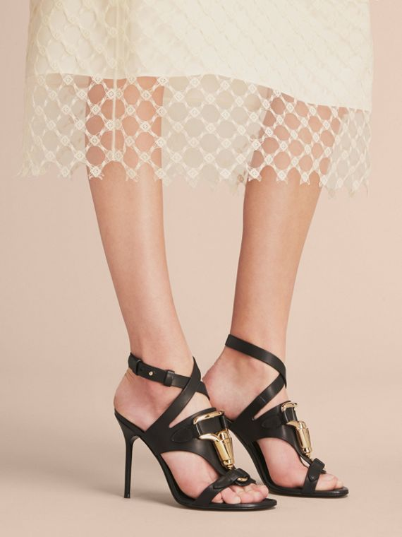 Equestrian Detail Leather High-heel Sandals in Black - Women | Burberry - cell image 2