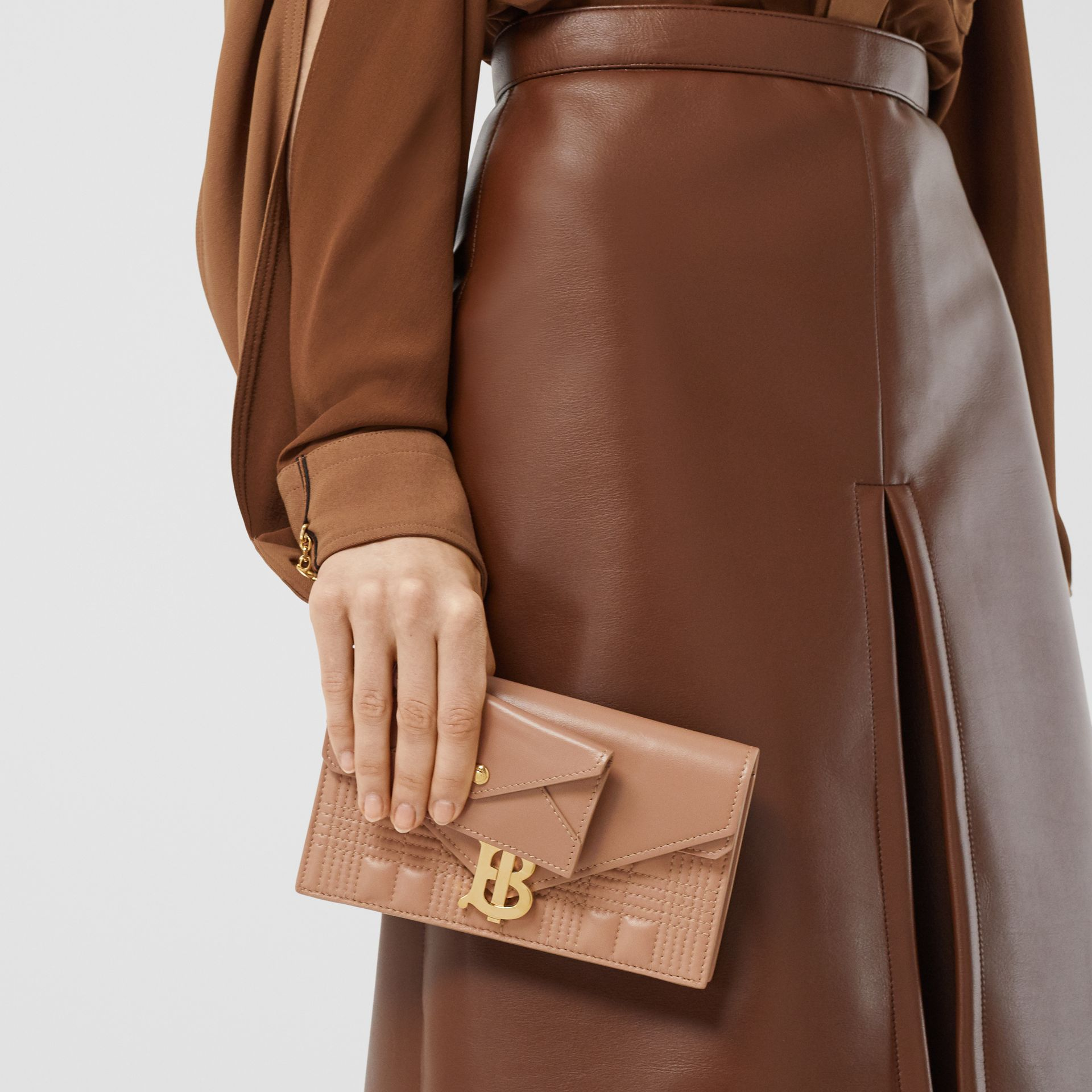 Belted Quilted Lambskin TB Envelope Clutch in Warm Camel - Women | Burberry Canada - gallery image 9