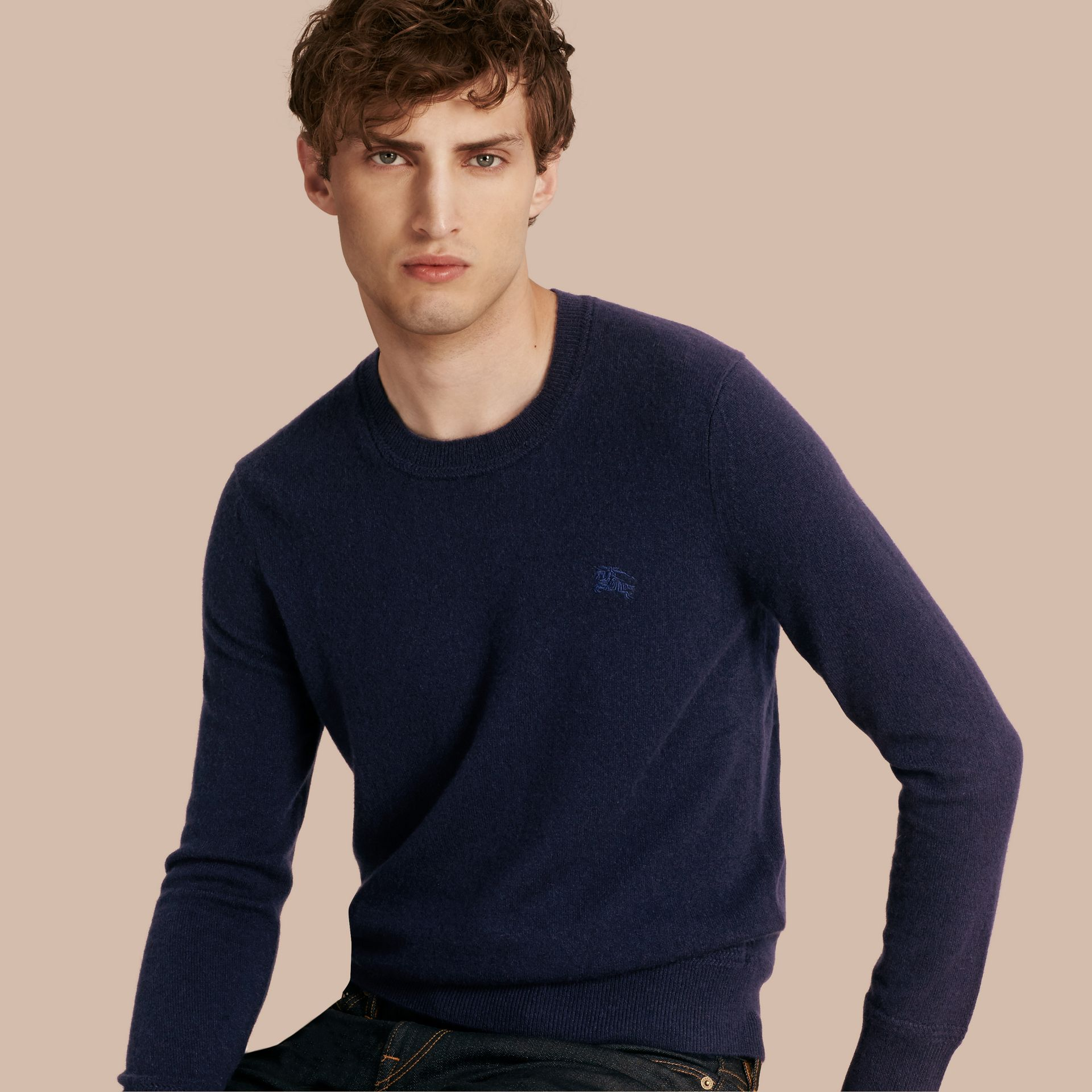 Crew Neck Cashmere Sweater Navy - gallery image 1