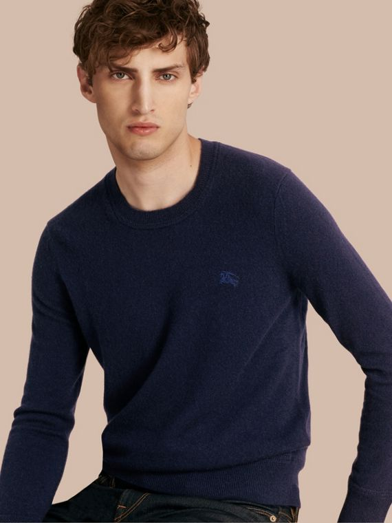 Crew Neck Cashmere Sweater in Navy