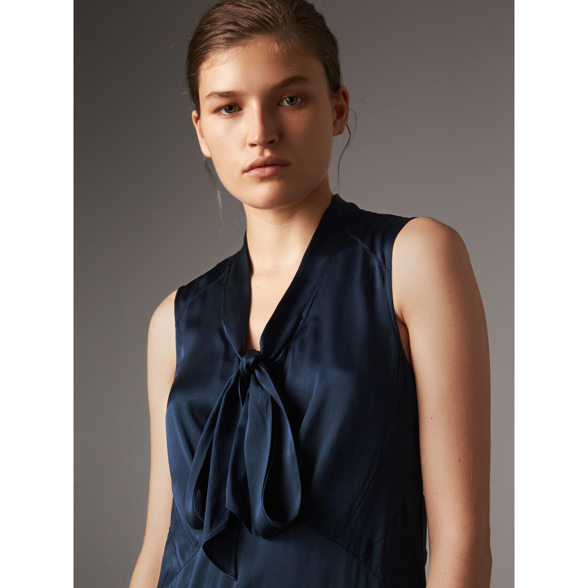 Washed Silk Satin Tie-neck Dress in Navy - Women | Burberry - gallery image 2