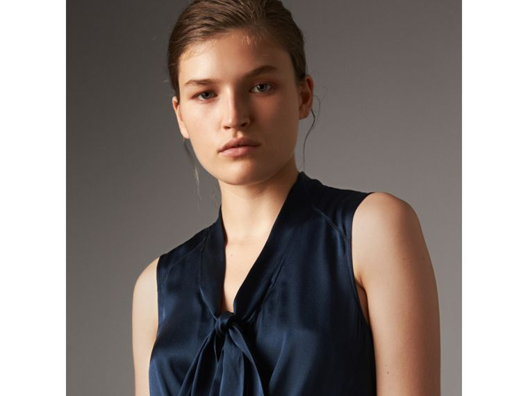 Washed Silk Satin Tie-neck Dress in Navy - Women | Burberry - cell image 1