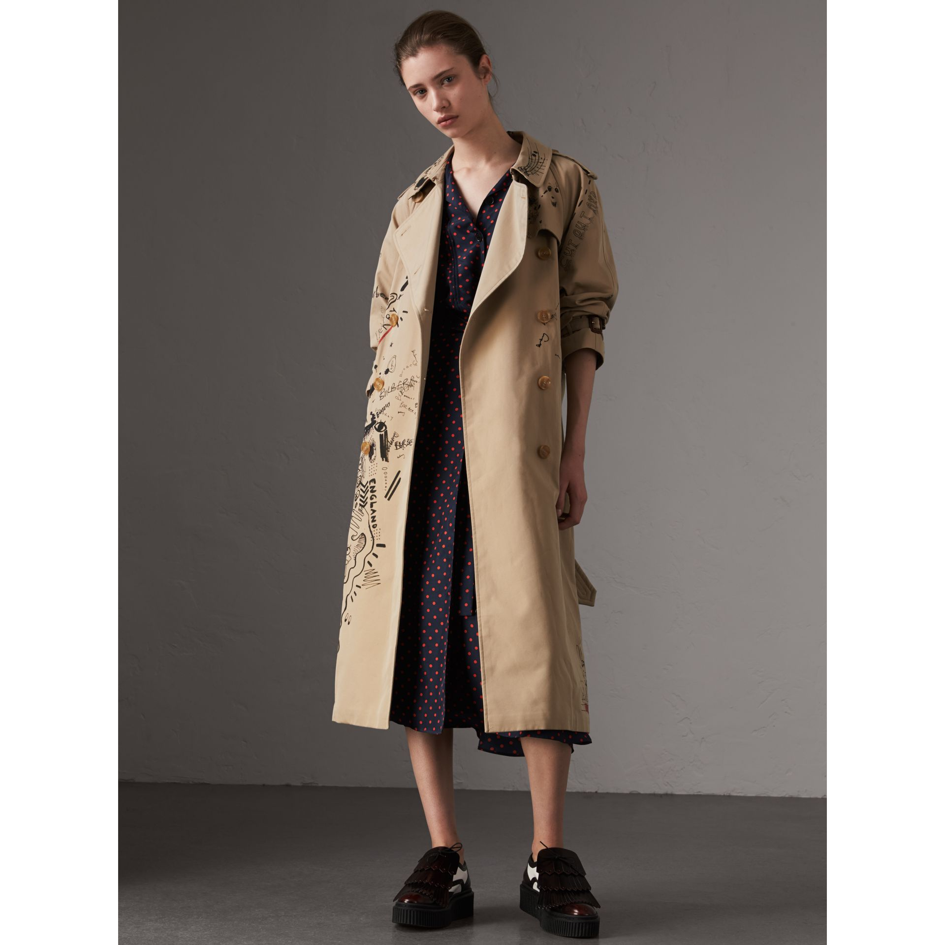 Sketch Print Cotton Gabardine Trench Coat in Honey - Women | Burberry - gallery image 6