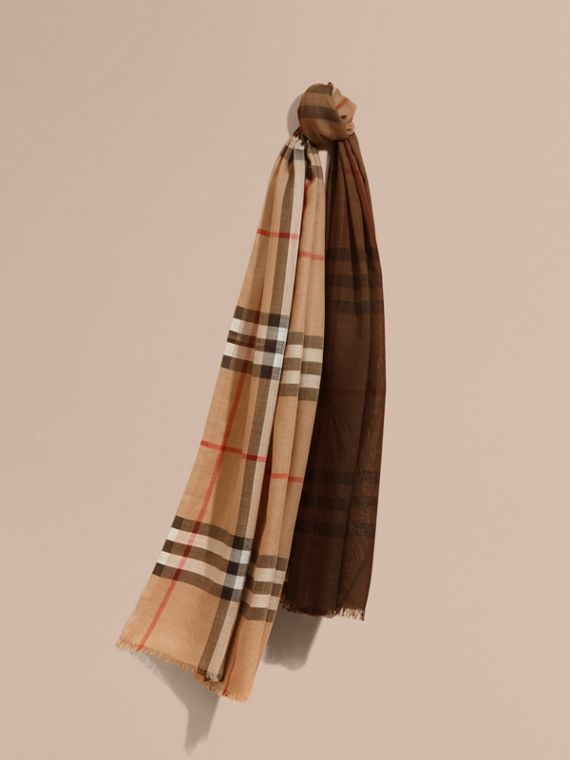Ombré Check Lightweight Wool Silk Scarf Camel