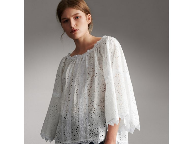 Broderie Anglaise Flared Top - Women | Burberry - cell image 4