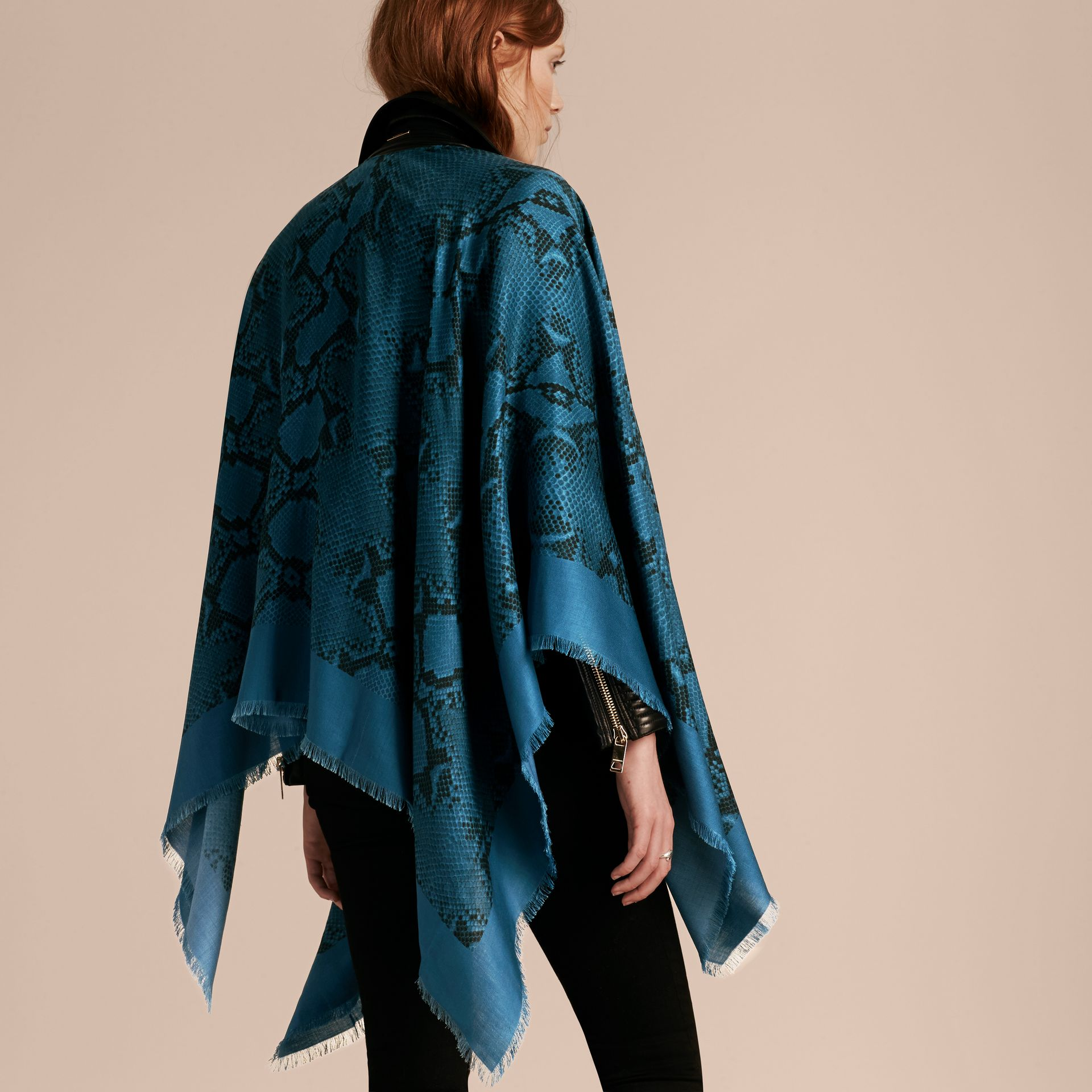 Mineral blue Lightweight Python Print Wool Cashmere Silk Poncho Mineral Blue - gallery image 6