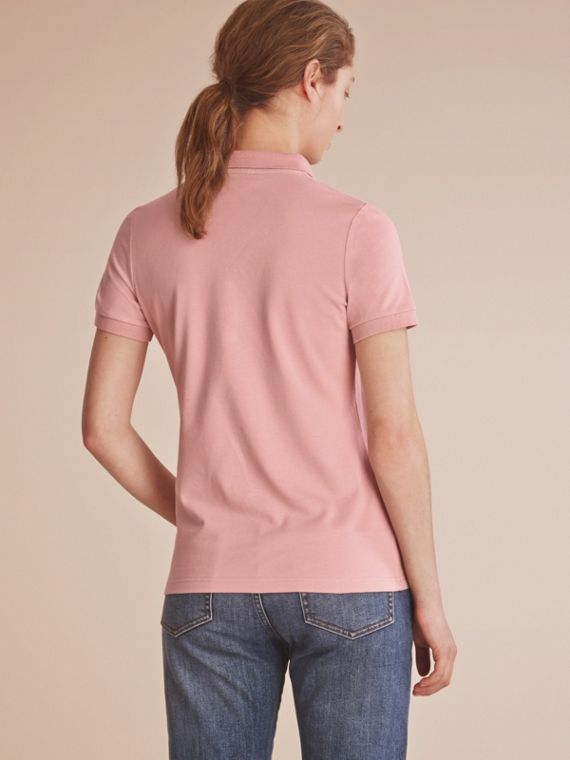 Lace Trim Cotton Blend Polo Shirt with Check Detail Nude - cell image 2