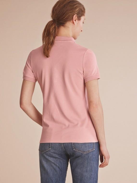 Camisa polo de algodão com detalhe de renda e xadrez (Nude) - Mulheres | Burberry - cell image 2
