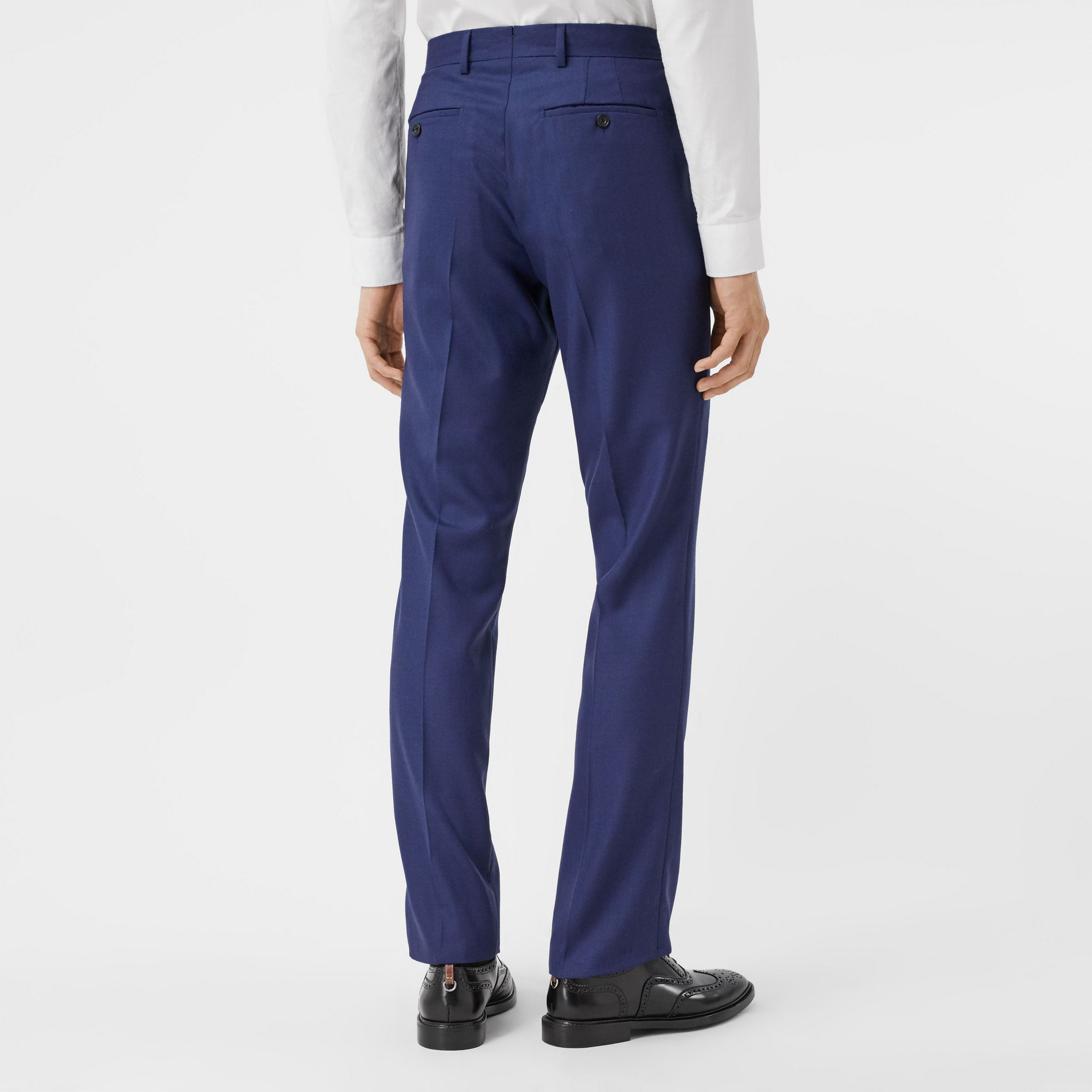 Classic Fit Birdseye Wool Tailored Trousers in Bright Navy - Men | Burberry - 3
