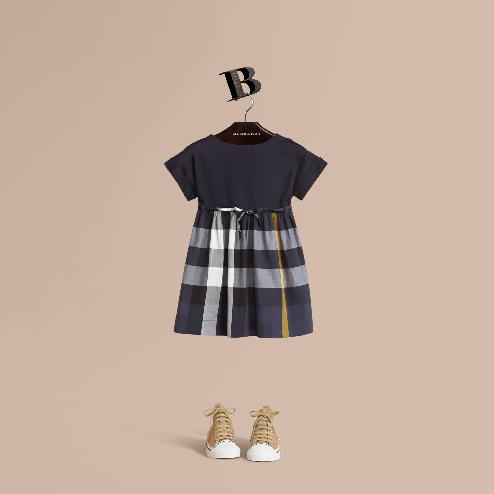 Cap Sleeve Check Cotton Dress in Pale Navy - Girl | Burberry - gallery image 1
