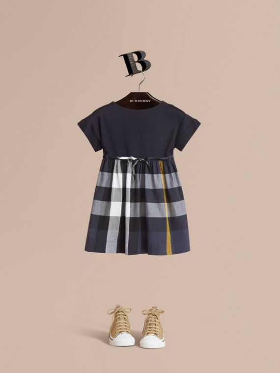 Cap Sleeve Check Cotton Dress - Girl | Burberry Australia