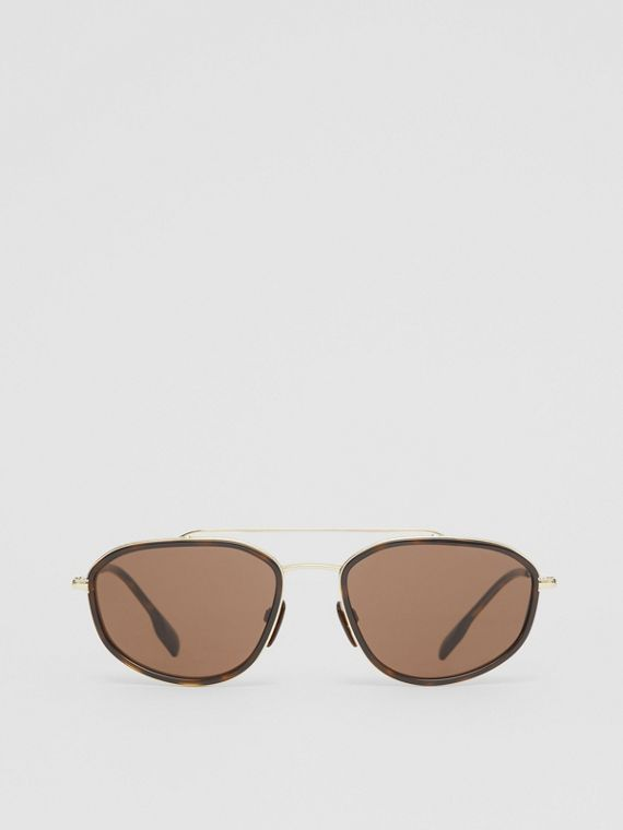 Gold-plated Geometric Navigator Sunglasses in Tortoise Shell