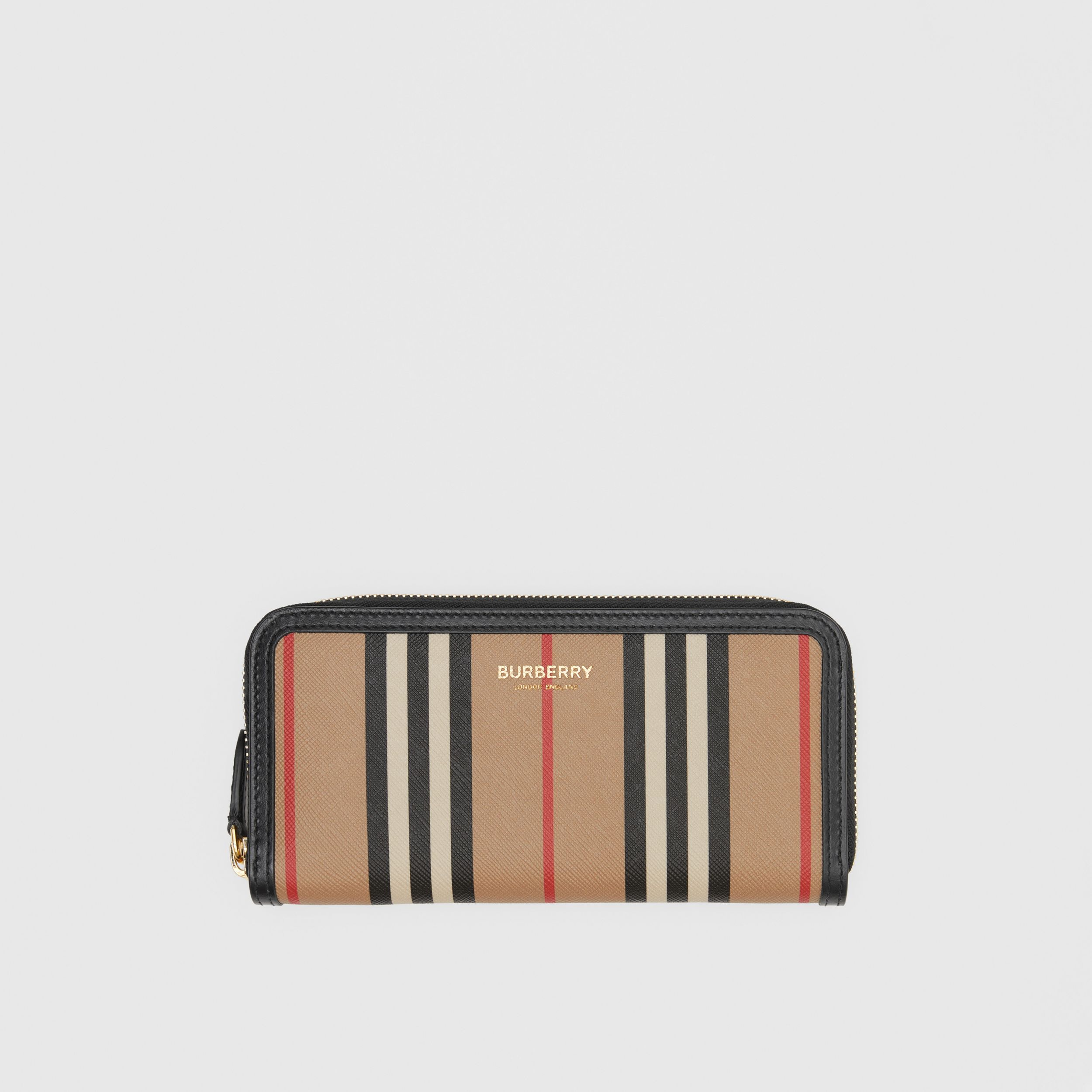 Icon Stripe E-canvas and Leather Ziparound Wallet in Archive Beige - Women | Burberry - 1