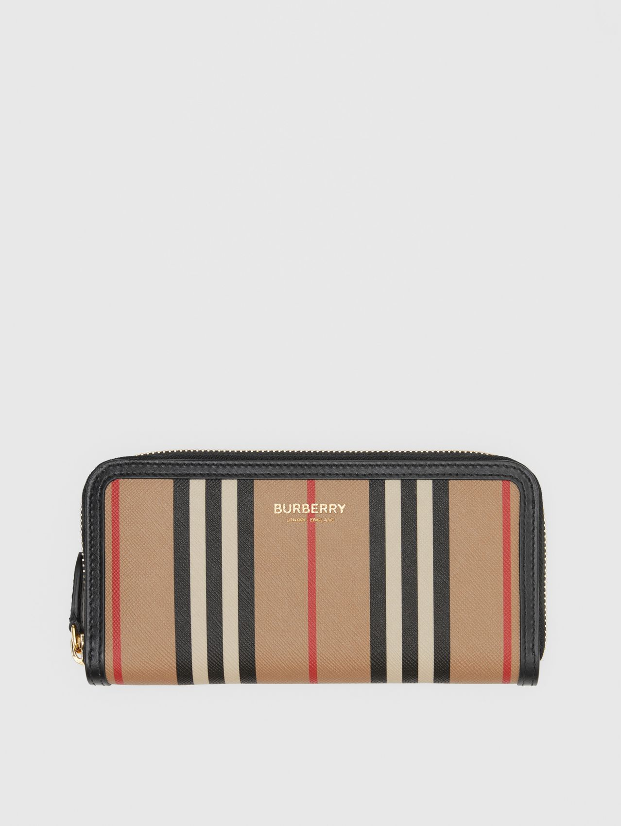 Icon Stripe E-canvas and Leather Ziparound Wallet in Archive Beige