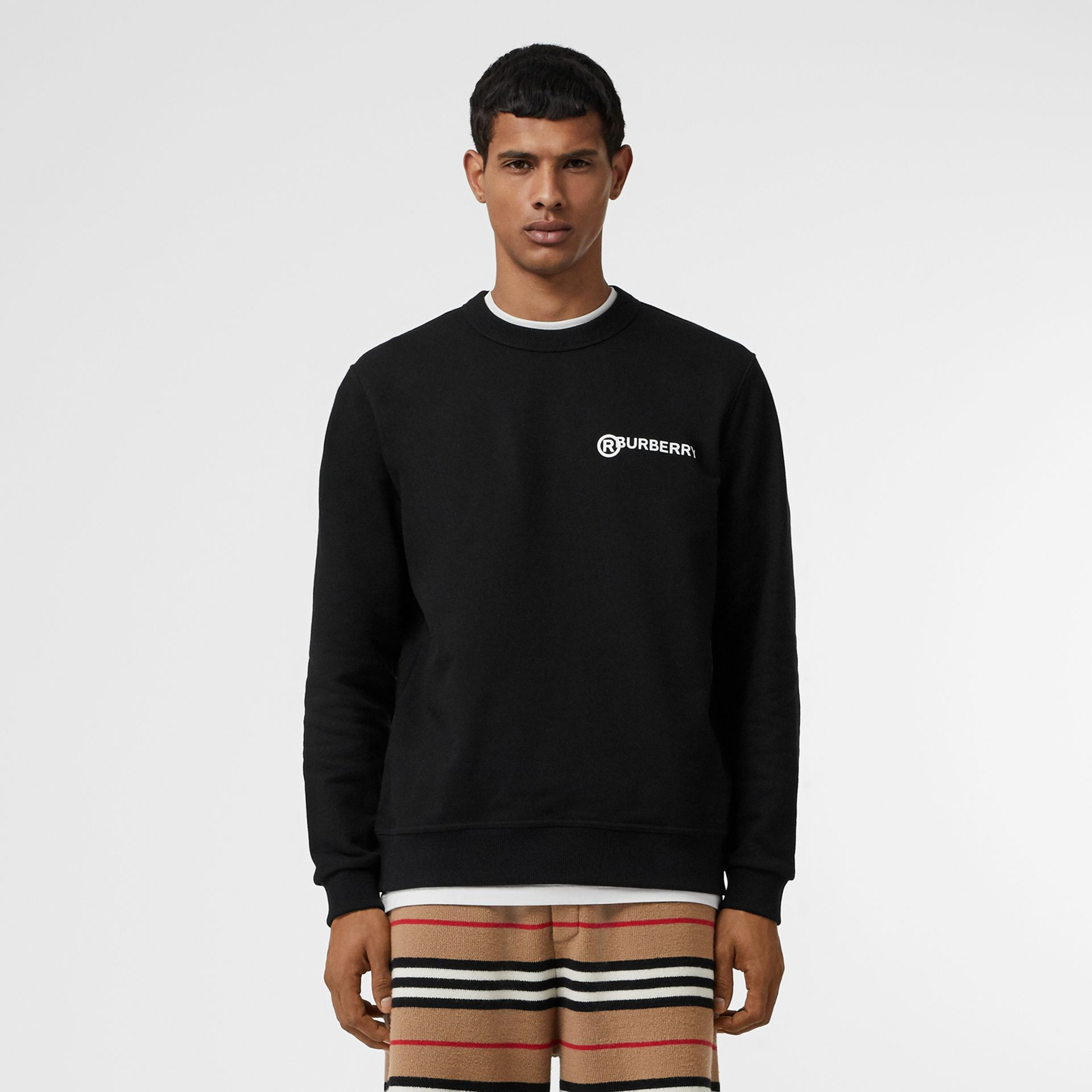 Logo Print Cotton Sweatshirt in Black - Men | Burberry Canada - gallery image 4