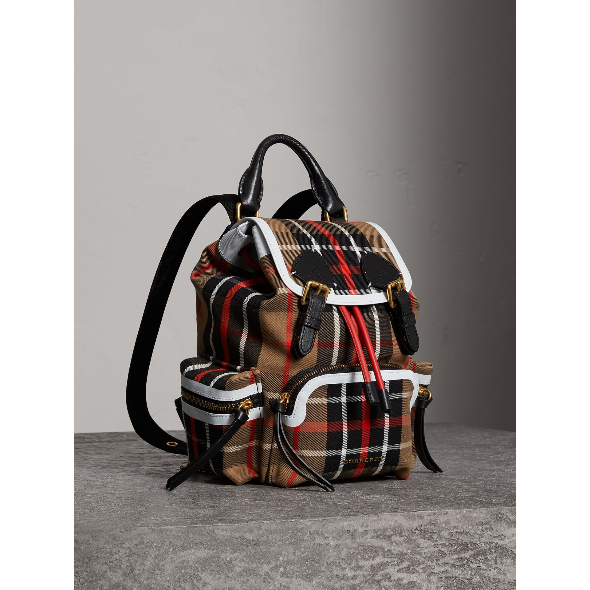 The Small Rucksack in Check Cotton and Leather in Caramel - Women | Burberry - gallery image 0